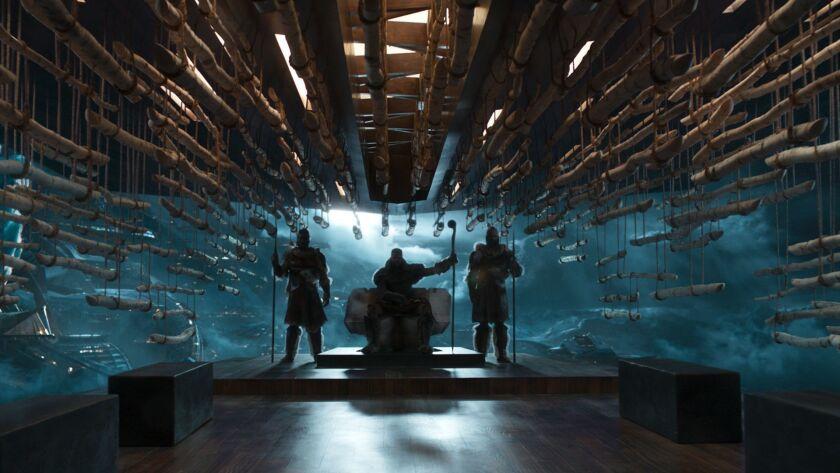 "M'Baku (Winston Duke, center) in his Jabari Tribe throne room in a scene from Marvel Studios' ""BLACK"
