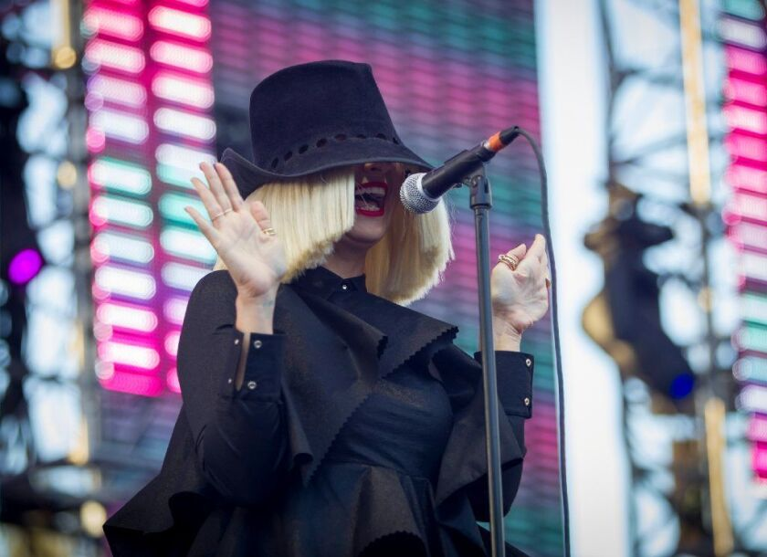 Sia performs during the Wango Tango concert at the StubHub Center on May 9, 2105 in Carson.