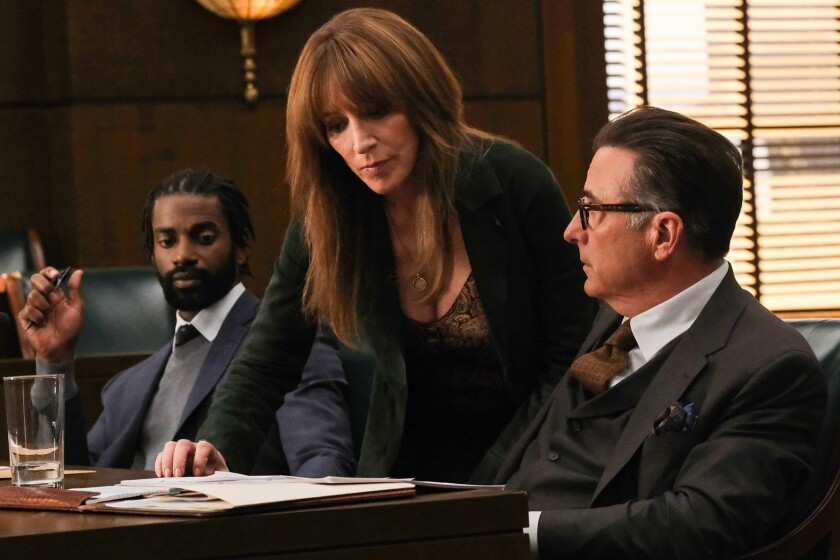 Mo McRae, left, Katey Sagal and Andy Garcia in a courtroom