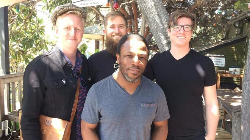 A record-setting band? San Diego musicians (from left) Ed Kornhauser, Matt Smith, Leonard Patton and Mackenzie Leighton hope to perform 70 times in 24 hours. (Photo by Michaela Stein)