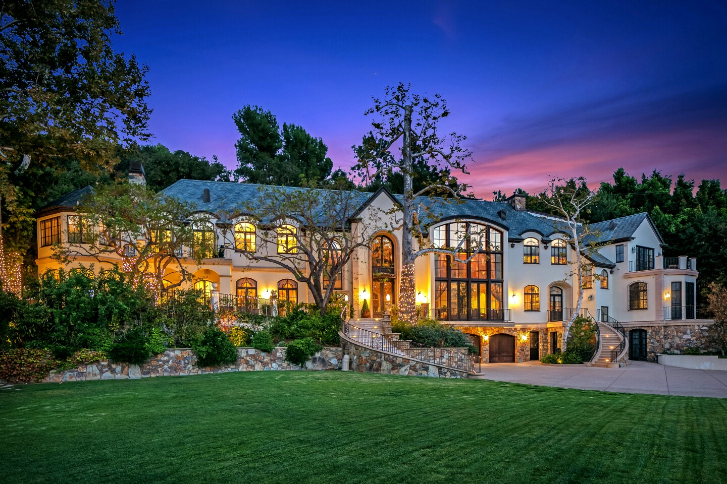 The amenity-loaded mansion in Benedict Canyon spans 16,000 square feet and includes a swimming pool with a 60-foot slide.
