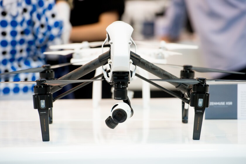 DJI's Inspire drone is displayed Oct. 18 at GITEX Technology Week in Dubai, United Arab Emirates.