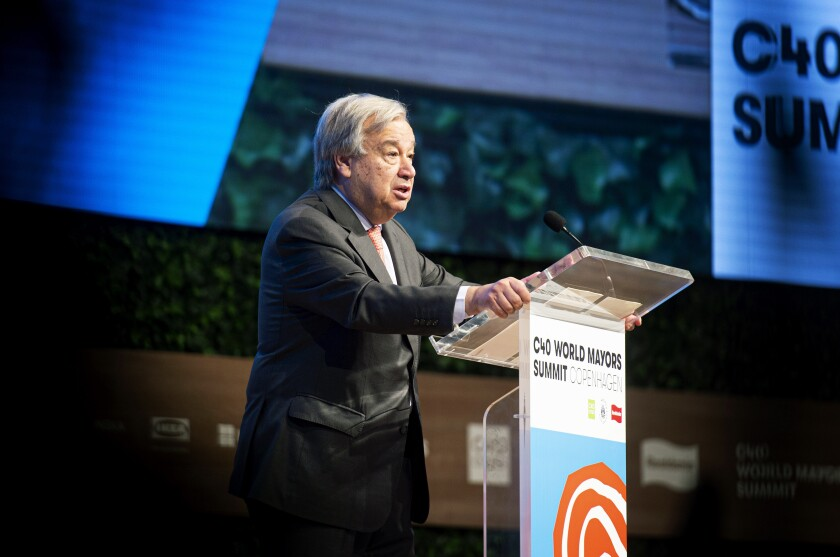 Antonio Guterres, Secretary-General of the United Nations delivers a speech at the C40 World Mayors Summit in Copenhagen, Denmark, Friday Oct. 11, 2019. (Ida Guldbaek Arentsen/Ritzau Scanpix via AP)