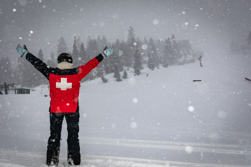 Big Bear Mountain Resort received 7 inches of snow from the storm that started Sunday.