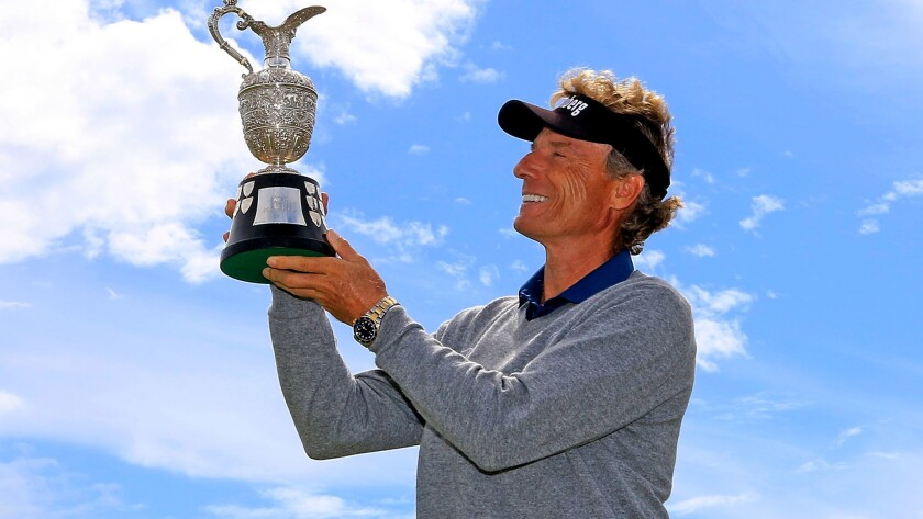 Bernhard Langer celebrates after winning the Senior British Open on Sunday.