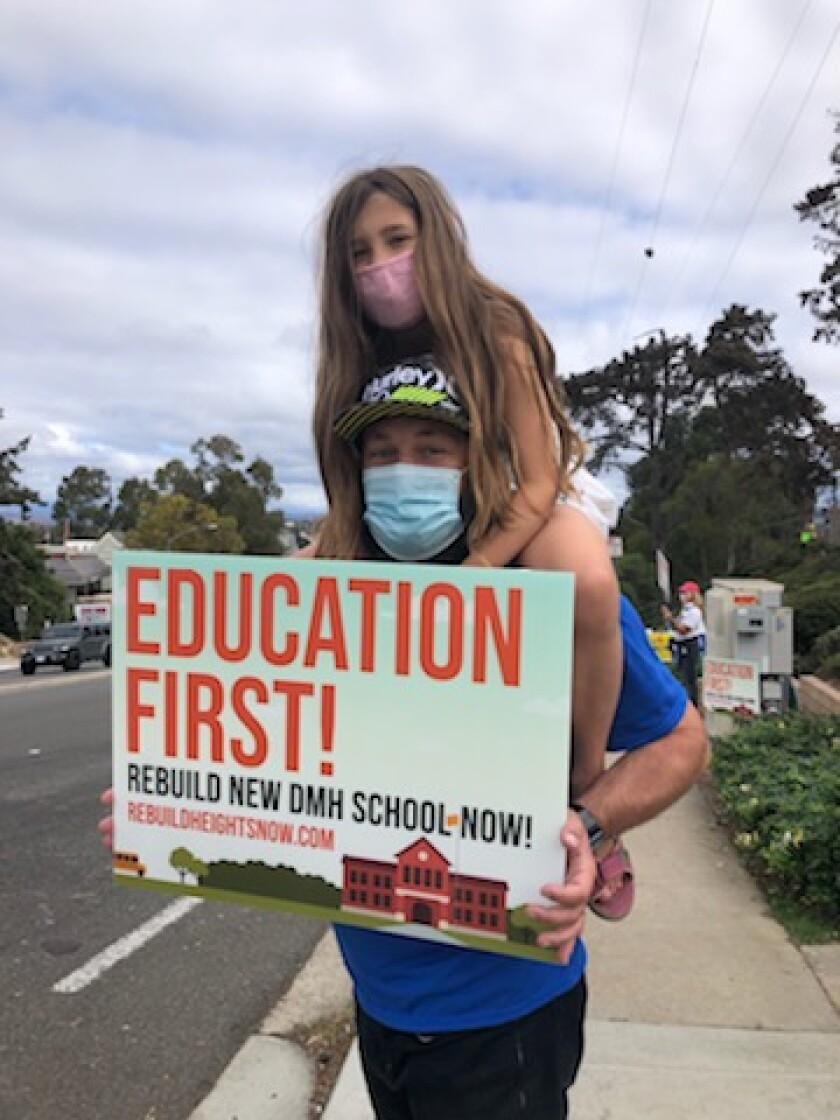 Del Mar Heights families and teachers were out in support of the rebuild on Oct. 24.