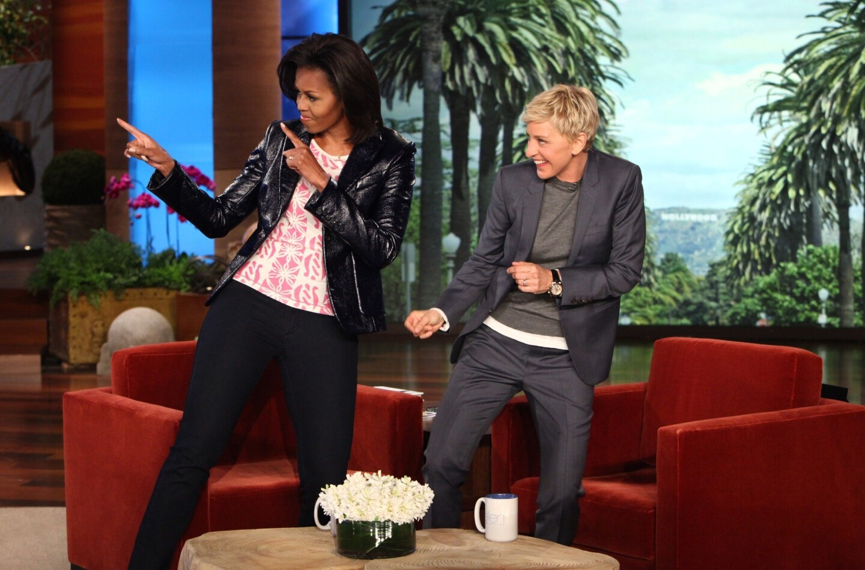 "Ellen DeGeneres and Michelle Obama on ""The Ellen DeGeneres Show"" on Feb. 2, 2012."