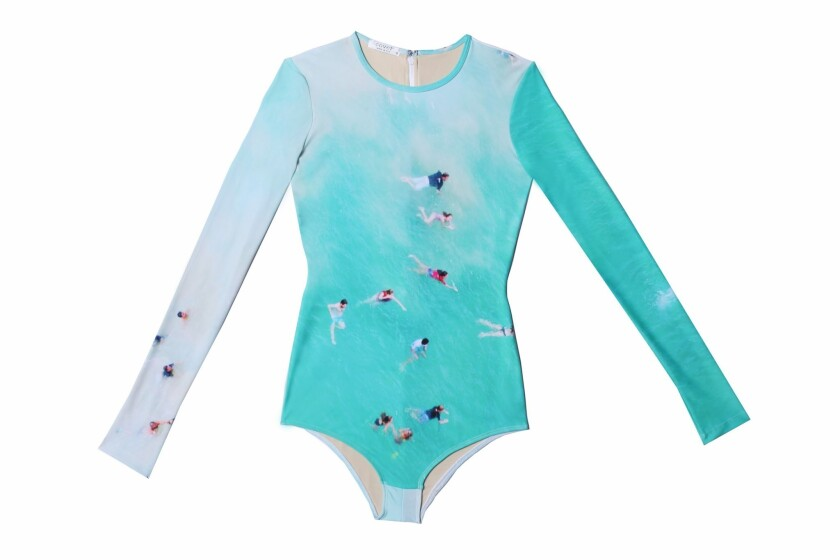 The Gray Malin x Cover long-sleeved swimsuit in UPF 50+ Protec Swim Jersey fabric.