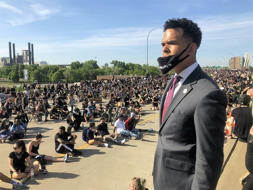 The Rev. Shane Harris, of San Diego, made a speech to about 11,000 protesters in Minneapolis, Minn. after a tanker truck plowed into a crowd on I-35 West.