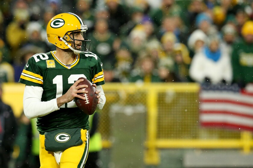 Green Bay quarterback Aaron Rodgers looks to pass Nov. 10 against Carolina.