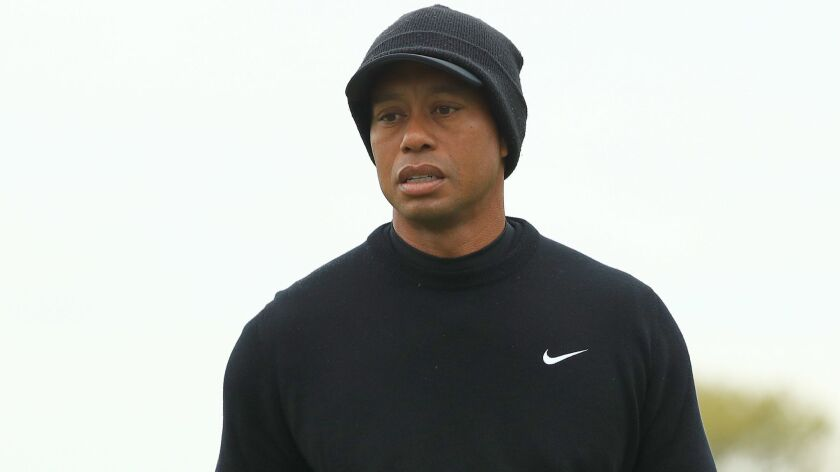 Tiger Woods looks on during a PGA Championship practice round Tuesday in Farmingdale, N.Y.