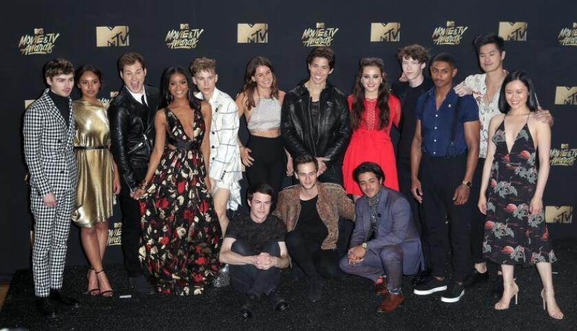 Cast of '13 Reasons Why' poses in the press room during the MTV Movie & TV Awards at the Shrine Auditorium in Los Angeles, California, USA, 07 May 2017. EFE/EPA/Mike Nelson/File
