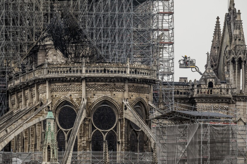 Notre Dame Cathedral devastated by fire, but part of the