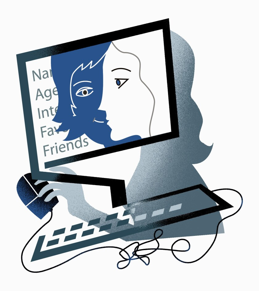 Illustration shows the outline of two faces on a computer.