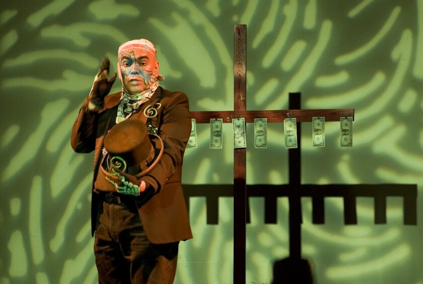 "José Torres-Tama in ""Aliens, Immigrants & Other Evildoers,"" presented by Latino Theater Company at the Los Angeles Theatre Center."
