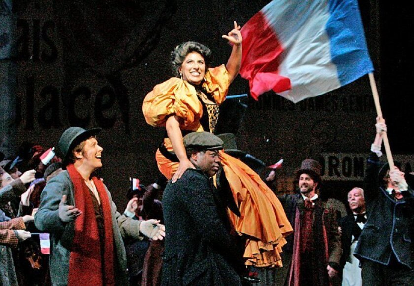 """Priti Gandhi (as Musetta) onstage at Thursday's rehearsal of the San Diego Opera's """"La Bohème."""""""