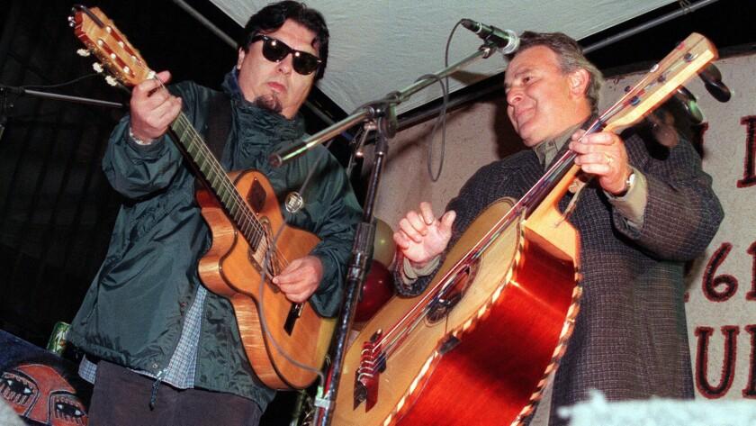 Ceasar Rosas and Conrad Lozano of Los Lobos playing on Feb. 6, 1999.