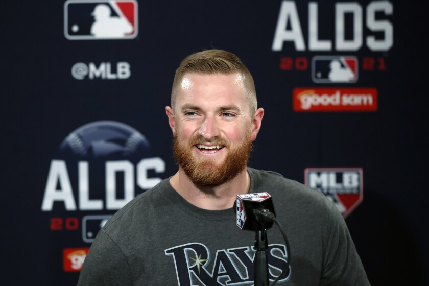 Tampa Bay Rays' Drew Rasmussen speaks during a news conference at Fenway Park, Saturday, Oct. 9, 2021, in Boston. The Rays play the Boston Red Sox in Game 3 a baseball AL Division Series on Sunday in Boston. (AP Photo/Michael Dwyer)