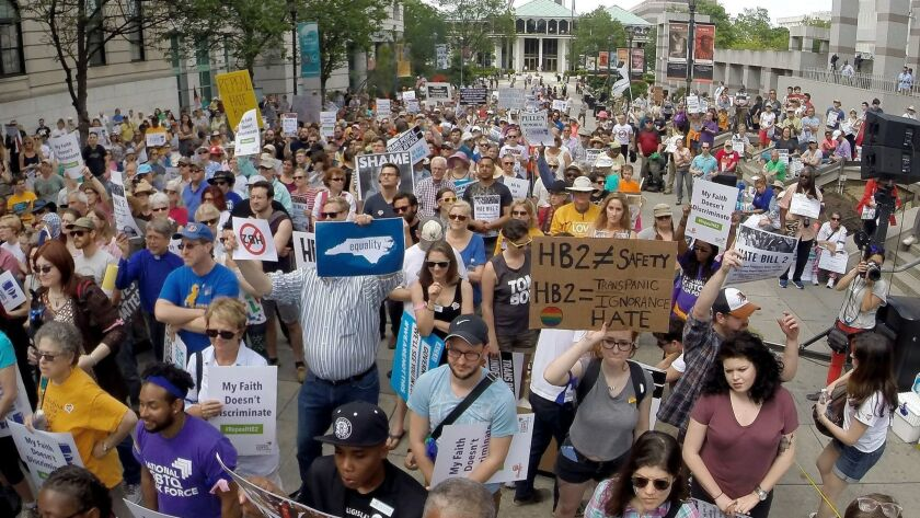 Protesters rally against House Bill 2 in Raleigh, N.C., Monday, April 25, 2016. While demonstration