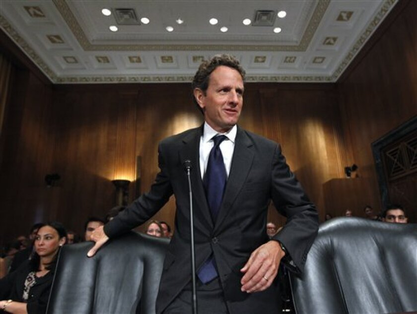 Treasury Secretary Timothy Geithner arrives on Capitol Hill in Washington, Thursday, June 10, 2010 to testify before the Senate Finance Committee hearing on the future of U.S. economic relations with China. (AP Photo/J. Scott Applewhite)