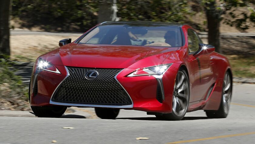 The Lexus LC500 is propelled by a V-8 with 471 horsepower and goes 0 to 60 in an estimated 4.4 seconds.