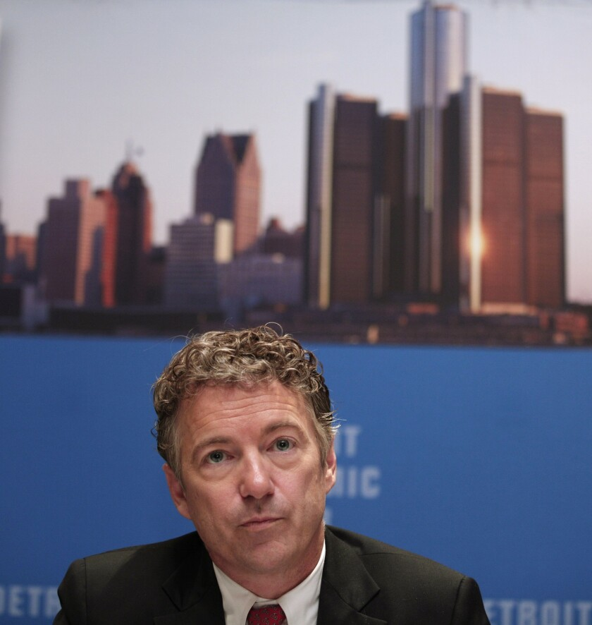 "Sen. Rand Paul (R-Ky.) speaks with the news media after delivering a speech titled ""Renewing the Opportunity for Prosperity: Economic Freedom Zones"" at the Detroit Economic Club."