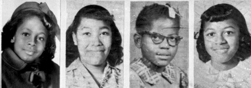 From left: Denise McNair, 11, Carole Robertson, 14, Addie Mae Collins, 14, and Cynthia Wesley, 14, are shown in photos from 1963, the year they were killed in the Birmingham church bombing.