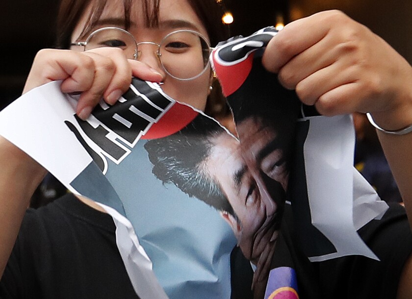 Japan uses trade restrictions as a weapon against South