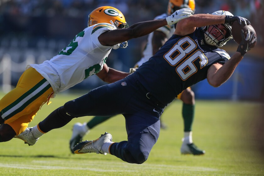 Chargers tight end Hunter Henry caught a team-high seven passes for 84 yards during his team's 26-11 upset of Green Bay at Dignity Health Sports Park.