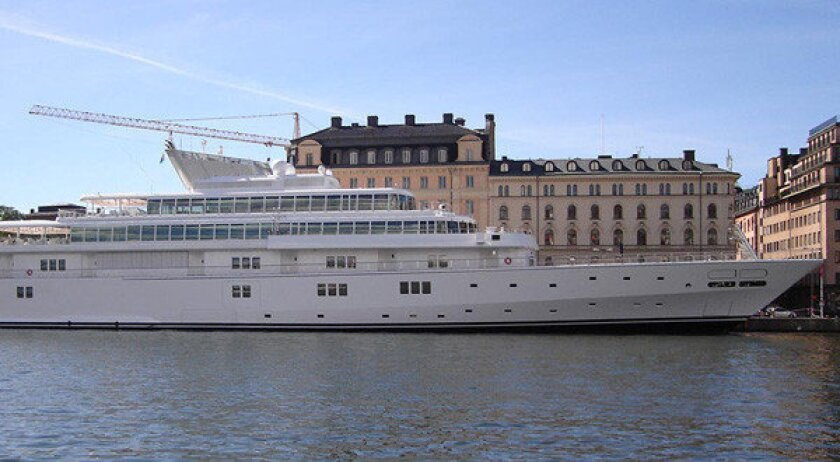 The Rising Sun yacht is more than 400 feet long.