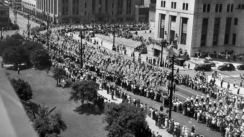 About 50,000 workers marched in the Labor Day parade on Spring Street in downtown Los Angeles on Sept. 6, 1937.