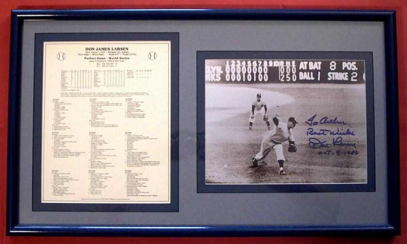 Items from Don Larsen's perfect game in the 1956 World Series are among Arthur Harutunian's favorite memorabilia.