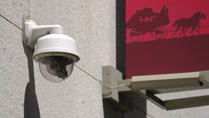 This photo taken Tuesday, May 7, 2019, shows a security camera in the Financial District of San Fran