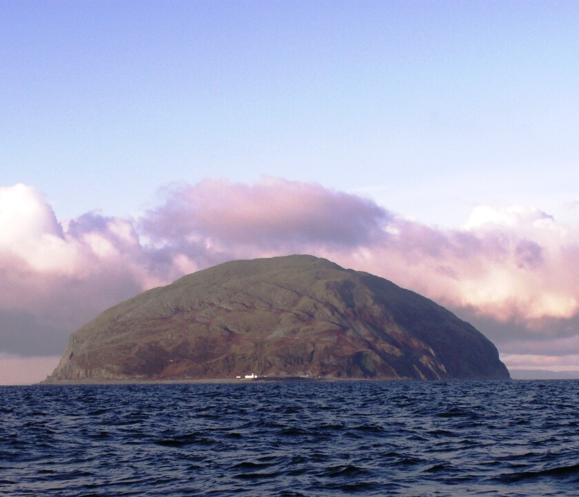 A view of Ailsa Craig, the uninhabited isle 10 miles off the coast of Scotland that holds the granite from which official curling stones are made.