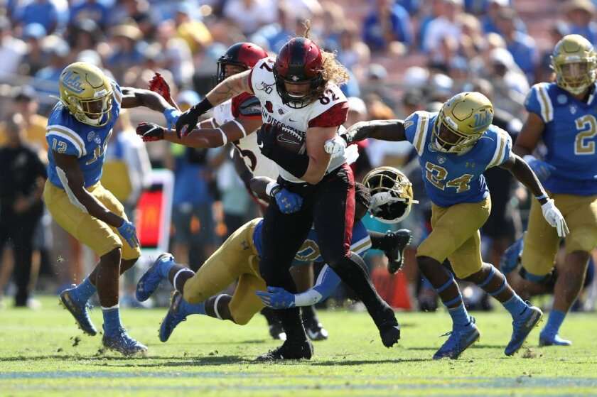 Is the SDSU offense boring? Maybe, but when Aztecs tight end Parker Houston broke tackles earlier this season in beating UCLA, fans got a little excited.