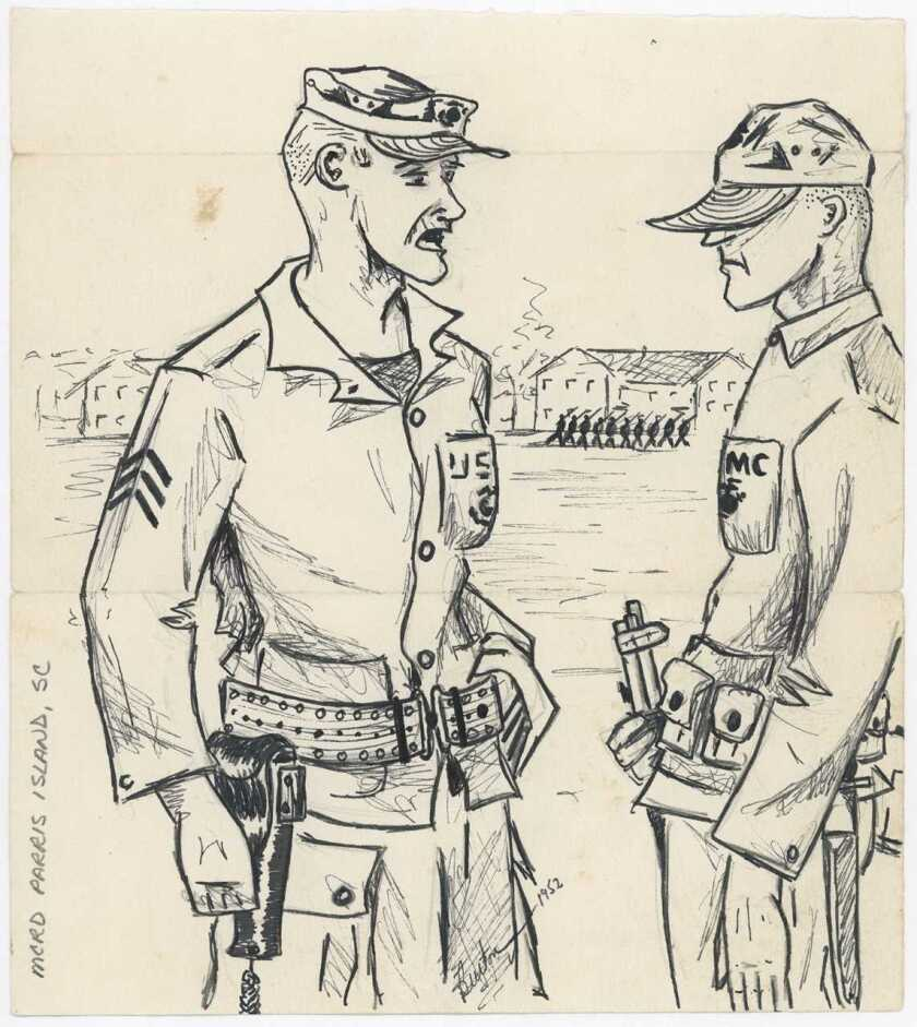 Drawing by Marine Capt. Ron Burton in 1952 depicting a drill instructor at boot camp during recruit training on Marine Recruit Depot Parris Island, SC. Courtesy of the Camp Pendleton Historical Society.