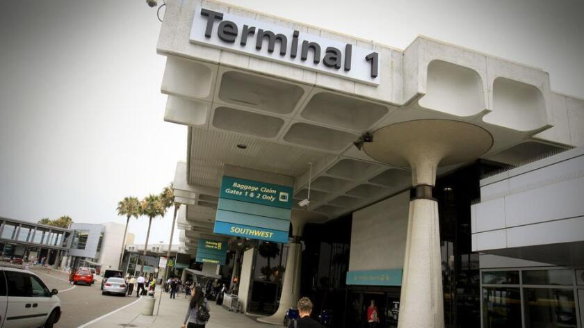 San Diego airport's Terminal 1 opened in 1967. Renovation plans call for more gates, a 7,500-space parking structure, dual-level roadway in front of the terminal and a new airport entry road Laurel Street and North Harbor Drive, to relieve congestion for those heading westbound to the airport.