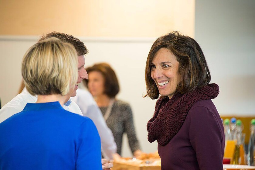 This photo provided by Google shows Fiona Cicconi, right, who is leaving the biotech firm AstraZeneca to become the head of Google's people operations, effective Jan. 5, 2021. (Courtesy of Google via AP)