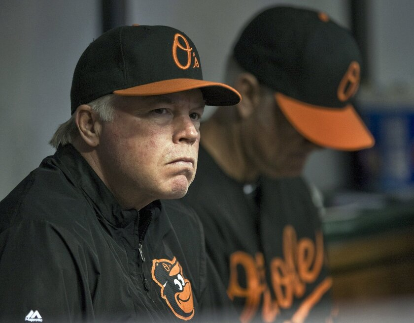 Baltimore Orioles manager Buck Showalter, left, watches his team play against the Tampa Bay Rays during the first inning of a baseball game Friday, Sept. 5, 2014, in St. Petersburg, Fla. (AP Photo/Steve Nesius)
