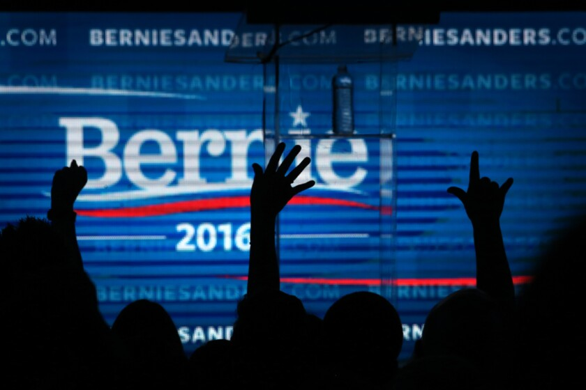 A crowd cheers at a fundraiser for Democratic presidential candidate Bernie Sanders at the Avalon hotel in Hollywood on Oct. 14, 2015.