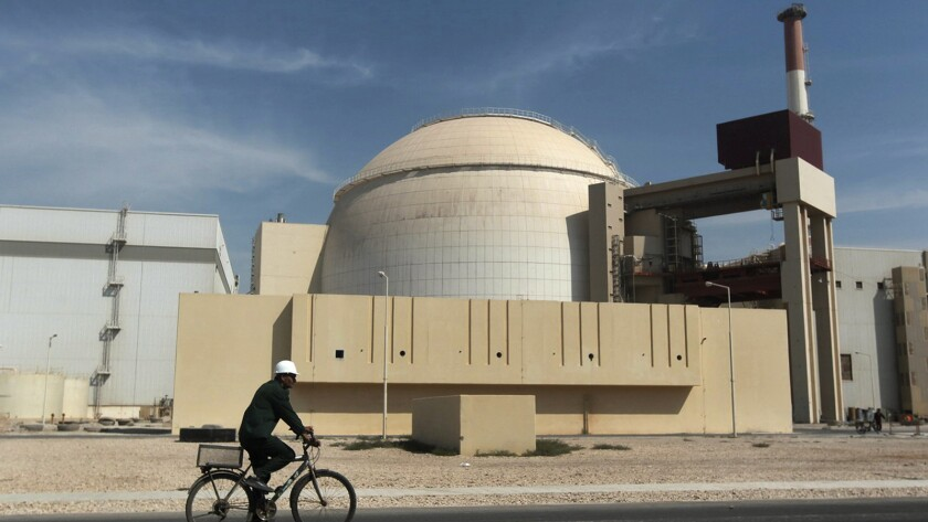 A worker at the reactor building of the Bushehr nuclear power plant in Iran.
