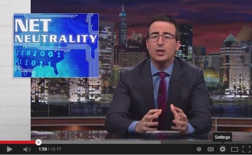 """Comedian John Oliver holds forth on net neutrality on HBO's """"Last Week Tonight with John Oliver."""""""