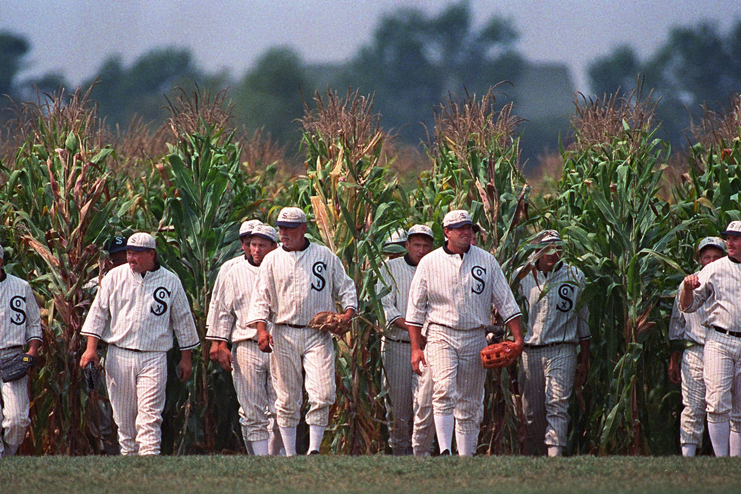 """Actors portraying ghost baseball players emerge from the cornfield at the """"Field of Dreams"""" movie site in Iowa."""