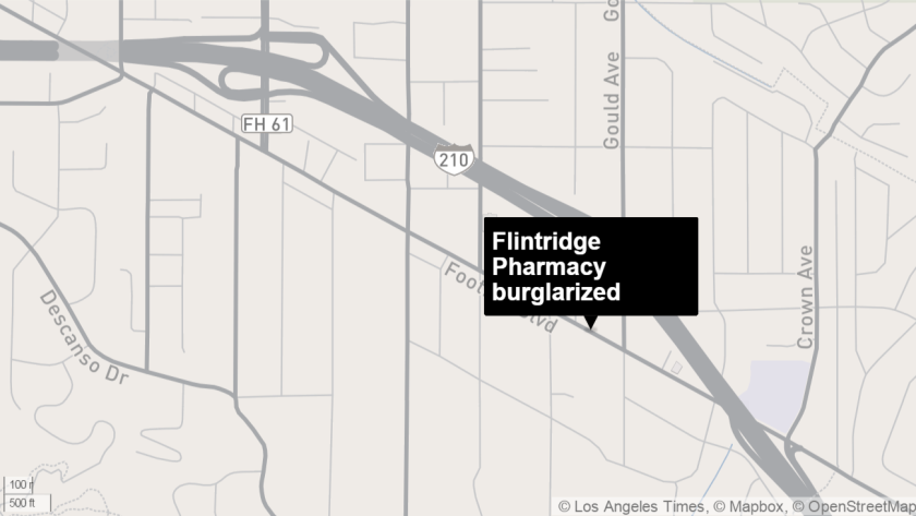 Crescenta Valley Sheriff's Deputies responded to a burglary alarm call at around 3 a.m. at Flintridge Pharmacy on Wednesday, Oct. 14.