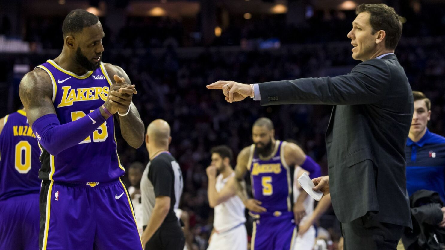 38d425ad301 Column: LeBron-led Lakers became a 'lose-lose' situation for Luke Walton. Los  Angeles ...