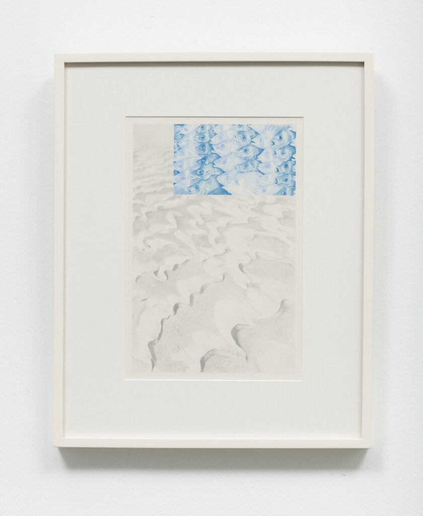 """""""From Dreams #16"""" by Nancy Buchanan, 1976. Pencil pastel on paper, conservation glass, 20.75 inches by 16.75 inches"""
