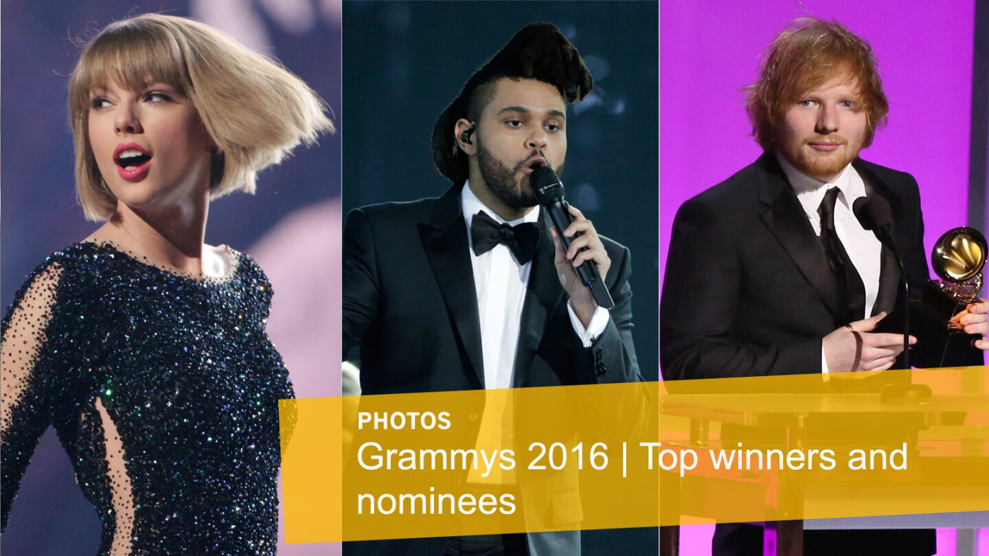 Click through the gallery to see some of the top Grammys 2016 winners and nominees including Taylor Swift, the Weeknd and Ed Sheeran. Make sure to check out The Times' complete Grammys coverage.