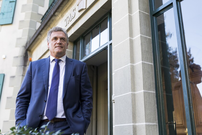 FILE - In this Wednesday, Oct. 11, 2017 file photo, Jerome Valcke, former FIFA Secretary General, arrives at the Court of Arbitration for Sport (CAS) to challenge his ten-year suspension imposed by FIFA in Lausanne, Switzerland. In a verdict handed down Friday Oct. 30, 2020, Valcke was given a 120-day suspended sentence and ordered to pay FIFA a seven-figure sum in restitution. (Cyril Zingaro/Keystone via AP, File)
