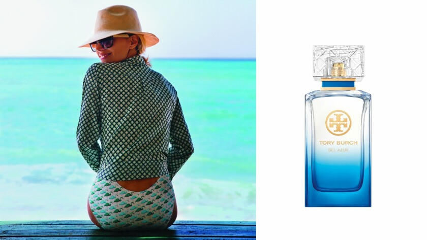 Tory Burch, left, and her new Bel Azur fragrance, $126 (3.4 oz.), available online and at Tory Burch