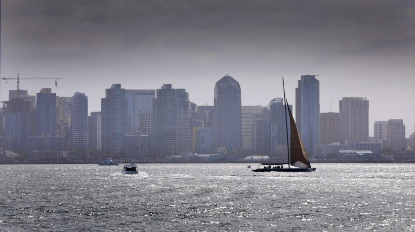 SAN DIEGO, CA: April 12, 2018: Boaters make their way through San Diego Bay, Thursday morning. Photo